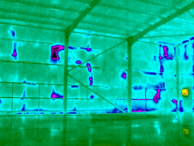 Cold Spots Highlighted by Heat Loss Survey of Commercial Building